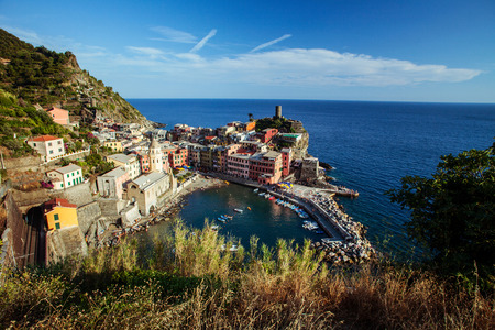 Vernazza town of Cinque Terre National Park at calm sunny day, Italy photo