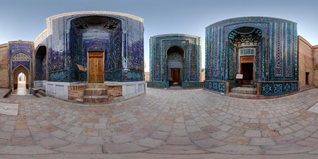 shah: Spherical, 360 degrees panorama (equirectangular projection) of oriental ancient complex of Shah i Zinda. Samarkand, Uzbekistan Stock Photo