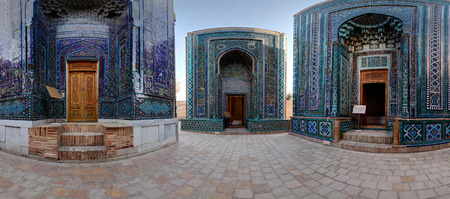 part i: Part of spherical panorama (equirectangular projection) of oriental ancient complex of Shah i Zinda. Samarkand, Uzbekistan