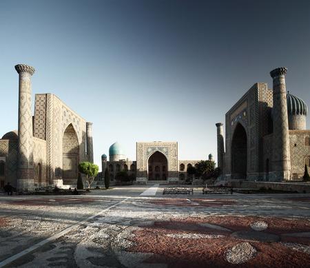 registan: Registan square with oriental buildings. Samarkand, Uzbekistan