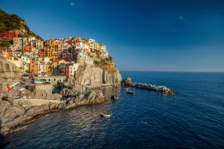 Manarola town of Cinque Terre National Park at calm sunny day, Italy photo