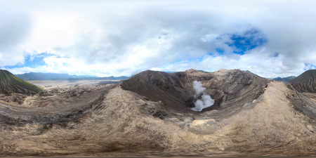 equirectangular: Spherical, 360 degrees panorama of an active volcano Bromo from an edge of its crater. Indonesia