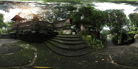 equirectangular: Spherical, 360 degrees panorama (equirectangular projection) of an yard of Hindu temple, Bali, Indonesia