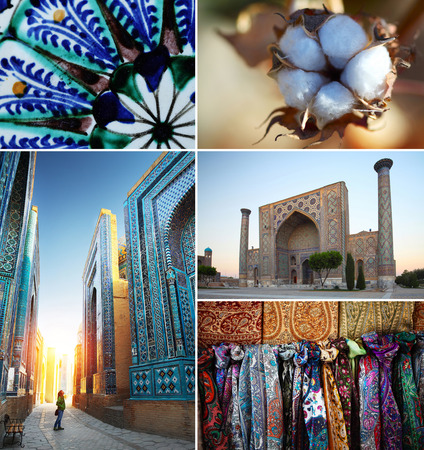 Collage with Uzbekistan theme. Shah i Zinda complex, blue cup pattern, cotton flower, mosque in Samarkand, scarfs. Stock Photo - 25584440