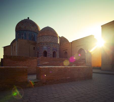 shah: Oriental complex of buildings of Shah i Zinda. Samarkand, Uzbekistan Stock Photo