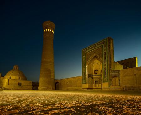 art door: Buildings of Poi Kalyan complex at night  Bukhara, Uzbekistan