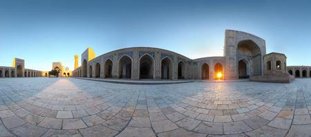 poi: Panorama  equirectangular projection  of oriental buildings of Poi Kalyan complex  Bukhara, Uzbekistan
