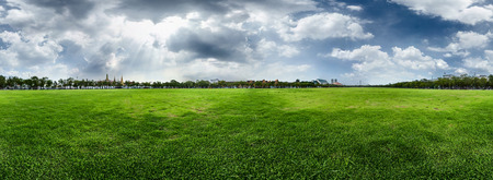 equirectangular: Meadow with green fresh grass and cloudy sky Stock Photo