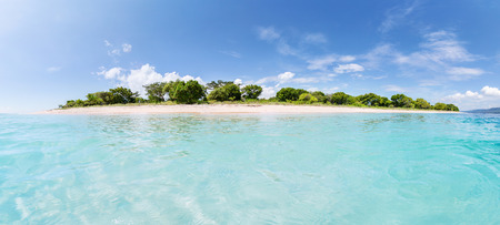 equirectangular: Panorama of the tropical island with clear turquoise water around at sunny day