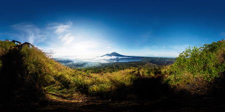 equirectangular: Spherical, 360 degrees panorama from the volcano of Batur at sunrise, Bali, Indonesia