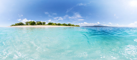 equirectangular: Panorama of tropical island with clear turquoise water around at sunny day Stock Photo