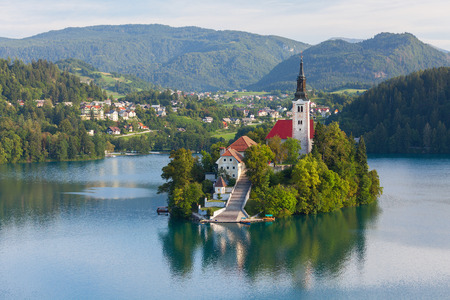 bled: Island with church in the middle of the lake of Bled, Slovenia
