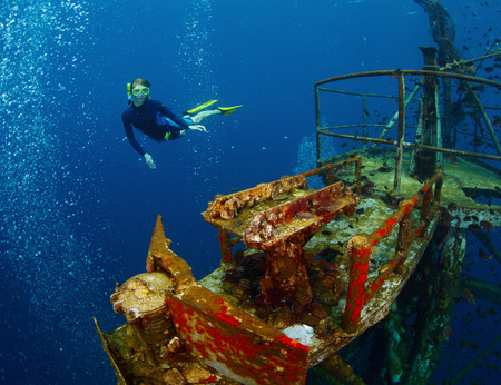 free diver: Free diver exploring the ship wreck in tropical sea