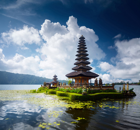 Hindu temple situated on the lake of Bratan, Bali, Indonesia