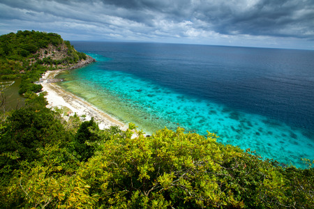 apo: View from top of a hill to Apo Reef Natural Park. Apo island, Philippines