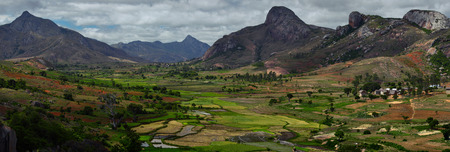 anja: Green valley with rice fields and villages among mountains. Anja reserve, Madagascar Stock Photo