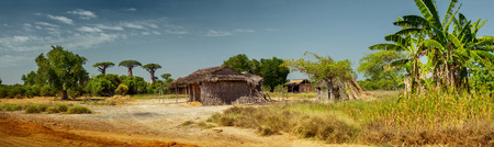 buidings: Panorama with wooden buidings along the road. Madagascar