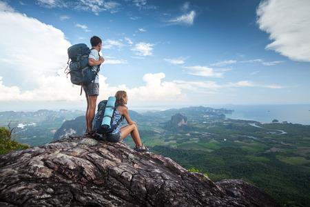 man climbing: Hikers