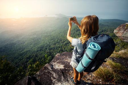 amateur: Excursionista Foto de archivo