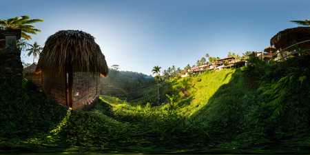 Spherical, 360 degrees seamless panorama of rice fields in the city of Ubud at sunrise. Bali, Indonesia