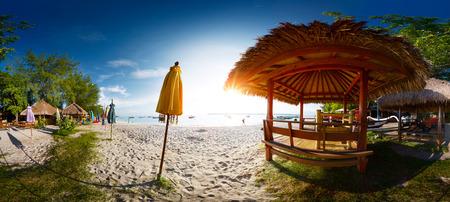 Panorama (equirectangular projection) on sandy beach with buildings on the island of Gili Trawangan, Indonesia