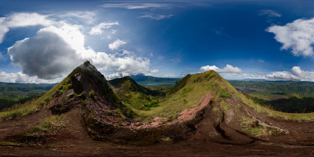 equirectangular: Spherical, 360 degrees panorama from the edge of crater of Batur volcano, Bali, Indonesia Stock Photo