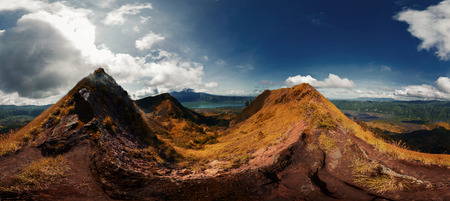 equirectangular: Panorama from the edge of crater of Batur volcano. Bali, Indonesia Stock Photo