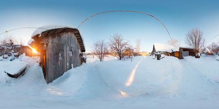 晴れた日にウィンター ガーデンの球、360 度シームレスなパノラマ 写真素材