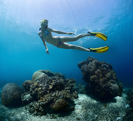 breath hold: Young lady finning underwater over coral reef on a breath hold Stock Photo