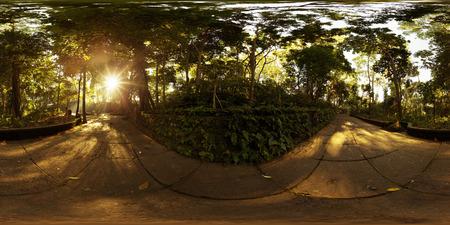 晴れた朝でウブドの街にモンキー フォレスト サンクチュアリの球形、360 度シームレスなパノラマ。インドネシア ・ バリ島
