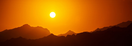 sinai: Sunset over mountains in south Sinai, Dahab, Egypt