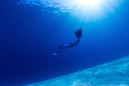 free diving: Freediver Stock Photo