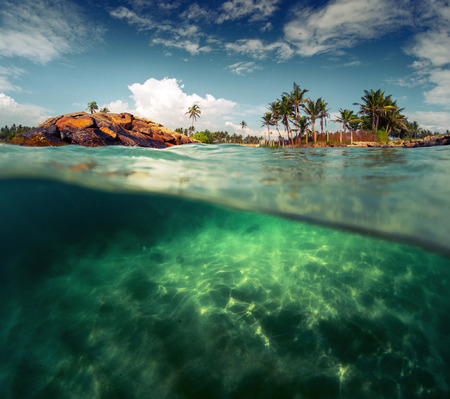 Split shot of the sandy bottom with rocks on the coast of Indian Ocean. Sri Lanka photo