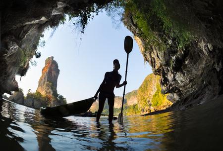 ao: Woman with the kayak Stock Photo