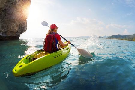 Woman on the kayak Standard-Bild