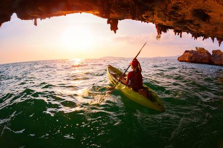 Woman on the kayak 스톡 콘텐츠
