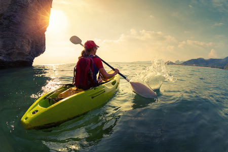 adventure sports: Woman on the kayak Stock Photo