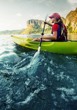 Woman with the kayak Stock Photo