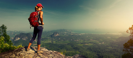 backpack: Lady hiker on the mountain