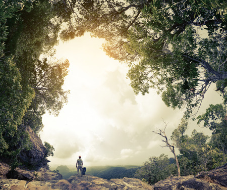 Hiker with backpack standing on the rock surrounded by lush tropical forest Imagens