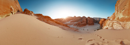 sinai desert: Panorama of the canyon in the desert. Sinai, Egypt Stock Photo