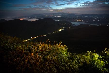 adams: Night valley with illuminated villages. View from Adams Peak, Sri Lanka