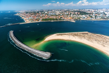 estuary: Aerial shot of the city of Porto and river of Douro at sunny day Stock Photo