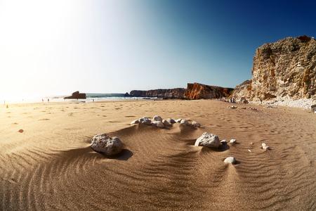 praia: Beach named Praia do Tonel at sunny day. Portugal