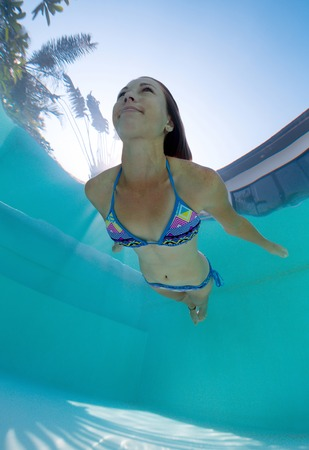 free diving: Young lady swimming underwater in the pool