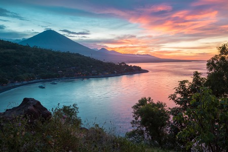 northeastern: Sunset over the coast of northeastern part of the island of Bali, Indonesia