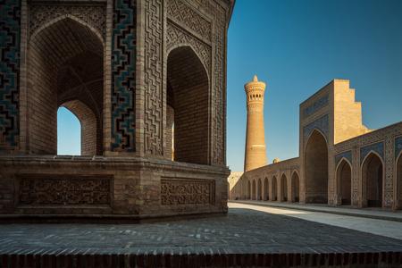 poi: Inner yard of the complex of buildings of Poi Kalyan, Bukhara, Uzbekistan