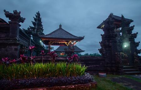 pura: Balinese temple Pura Besakih at twilight. Indonesia