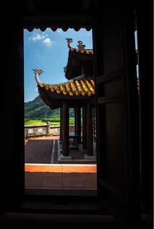 view through door: View to the temple through the door