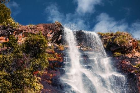 The waterfall of Bambarakanda- tallest waterfall of the country of Sri Lanka - 263m (863ft) Stock Photo
